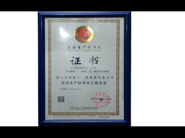 广一2019安全生产标准化证书