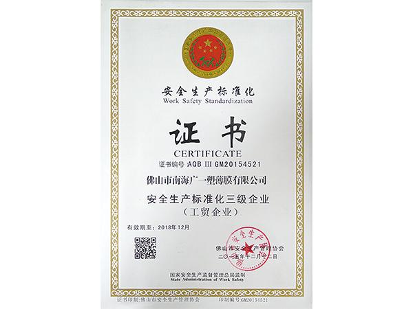 广一安全生产标准化证书